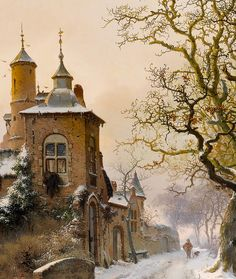 "Fredrik Marinus Kruseman ""Winter landscape with skaters near a castle"" (detail modified) c.1857"