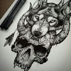 www.flamelikeflower.tumblr.com  Demon wolf #wolf #tattoo #demon #design