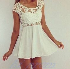 White Causal Homecoming Dress,Lace Prom Dresses,Chiffon Homecoming Gowns,Simple Sweet 16 Dress,Homecoming Dresses,Birthday Party Gown For Teens