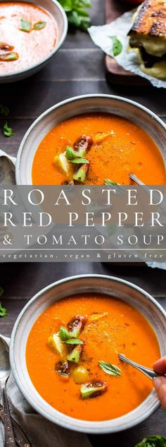 Hearty and rich with just 5 ingredients in this creamy Roasted Red Pepper and Tomato Soup. Freeze with ease to preserve for winter days ahead. This recipe is vegetarian, vegan and gluten free. Lunch Recipes, Vegan Recipes, Heirloom Tomatoes, Roasted Red Peppers, Tomato Soup, Vegan Gluten Free, Stew, Curry, Vegetarian