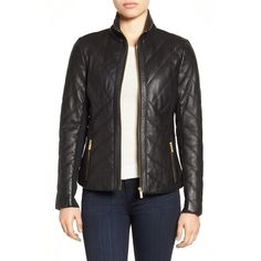 Women's Badgley Mischka 'Eloise' Quilted Leather Moto Jacket (440 AUD) ❤ liked on Polyvore featuring outerwear, jackets, black, tall motorcycle jacket, motorcycle jackets, tall jackets, quilted leather biker jacket and rider jacket