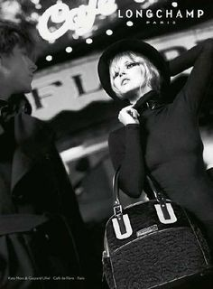 The ever ubiquitous Kate Moss stars alongside French actor Gaspard Ulliel in the new ad campaign for Longchamp Fall/Winter 08-09.  The stylish black and white campaign was shot by Alas & Piggott with a theme of romance in a coffee shop - Romantic Cafe Fashion Ads: Kate Moss & Gaspard Ulliel for Longchamp
