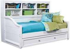 Gabriella Winter White 5 Pc Twin Bookcase Daybed Bedroom – Twin Bedroom Sets - bedroom furniture for teens Top Furniture Stores, Bedroom Furniture Stores, Furniture Styles, Furniture Ideas, Kids Room Furniture, Bed Furniture, Cheap Furniture, Kitchen Furniture, Furniture Movers