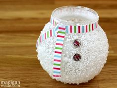 This epsom salt votive is a fabulous snowman craft idea. Create lovely snowman crafts that will become fabulous handmade Christmas decorations.