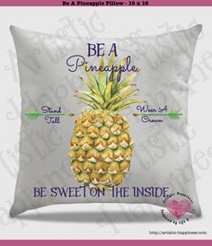 "How gorgeous is this pillow??!!   Be A Pineapple Pillow and Insert – 16"" x 16""  This is an original design.  This is created with ink, not vinyl. It's permanently placed on the pillow with a commercial heat press.  The cover has a zipper on the bottom. Pillow insert and pillow cover are both purchased with this listing. Toss this pillow on a bed, chair, or wherever!  So soft, this pillow cover is called Peach Skin. Not for the color, but for the feel. It is soft, but, not fluffy and furry."