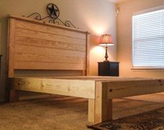 Rustic pine headboard - is a soft wood that works beautifully as a headboard with your country style bedroom decor. You can make your own rustic pine Timber Bed Frames, Pine Bed Frame, Timber Beds, Headboard With Lights, Bed Frame And Headboard, Queen Headboard, Pine Beds, Camas King, Bed Frame Design