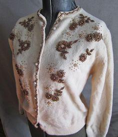 Vintage 50s Beaded Wool Cardigan Sweater  by CuriousBirdVintage, $45.00