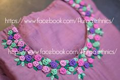 If you love floral embroideries, you need to know how to stitch bullion rose. Although working with a more advanced stitch, this beautiful flower is quite simple, while giving a strong visual impact. A bullion rose Zardozi Embroidery, Embroidery On Kurtis, Kurti Embroidery Design, Hand Embroidery Dress, Crewel Embroidery Kits, Embroidery Flowers Pattern, Embroidery Suits, Rose Embroidery, Embroidery Tattoo