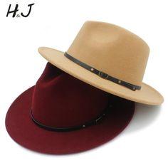 Wool Women Men Outback Fedora Hat With Wide Brim Gangster Trilby Felt Jazz  Church Godfather Cap Szie 96f003aa507e