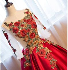 Red Floral Ball Gown Prom Dresses with Sleeves – Viniodress Red Ball Gowns, Vintage Ball Gowns, Ball Gowns Prom, Ball Gown Dresses, Vintage Dresses, Evening Dresses, Pretty Quinceanera Dresses, Red Wedding Dresses, Prom Dresses With Sleeves