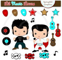 Instant Download Music Lover Digital Clip Art Web Design, Card Making, Scrapbooking - Personal and Commerical Use