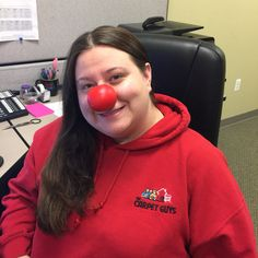 Tiffany of The Carpet Guys having fun sharing the message #RedNoseDay #RedNoseDay2015