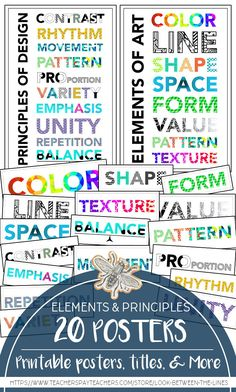 Elements of Art and Principles of Design Modern Printable Posers & Headers Give your dated elements of arts and principles of design posters a fresh and modern look with these printable posters. This pack has 20 posters in all. Elements And Principles, Elements Of Design, Middle School Art, Art School, Visual Art Lessons, Art Handouts, Printable Art, Printables, School Levels
