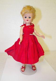b26cf840128 Details about VINTAGE VOGUE JILL DOLL ORIGINAL RED DRESS   SHOES