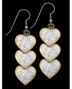 Triple Heart Dangle Earrings  Via countryoutfitters.com