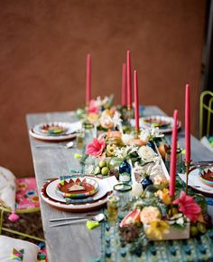 Mexican themed tablescape with bright, geometric details.