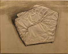 Christo - Wrapped couch project - collage su tela - 72x57 cm - 1973