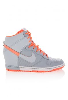 The Nike dunk sky hi wedge sneakers give you elevation. Browse the latest designer shoes and shop online. Wedge Sneakers Style, Nike Wedge Sneakers, Hidden Wedge Sneakers, Nike Heels, Nike Wedges, Winter Sneakers, Grey Sneakers, Grey Shoes, Sneakers Fashion