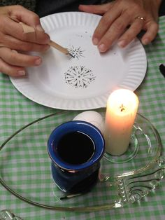 Pysanky-Drop-Pull method, students practice on a paper plate. www.pysankybasics.com