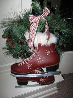 painting crafts, diy, ice skates, christmas, decorations.