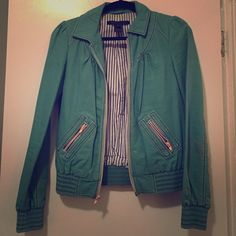 Vintage Marc by Marc Jacobs Cotton Jacket Super chic, hard to find, SUPER RARE Marc Jacobs Vintage cotton jacket. Looks chic over a dress or casual. size xs. Green with baby pink zippers and baby pink & blue stitching. small stain on back, hardly noticeable, otherwise good condition. guaranteed authentic or your $$ back. Marc by Marc Jacobs Jackets & Coats