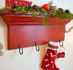 "Stocking Holder,  24"" Wide 4 Hand Forged Hooks - Christmas Stocking Holder, Christmas Shelf on Etsy, $75.00"