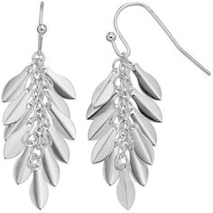 LC Lauren Conrad Leaf Cluster Drop Earrings ($9.80) ❤ liked on Polyvore featuring jewelry, earrings, silver, leaves jewelry, cluster drop earrings, drop earrings, cluster jewelry and silver tone earrings