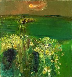 """alongtimealone: """"Joan Eardley (British, Green Fields at Sunset. Oil on canvas, 15 x 14 in. Abstract Landscape, Landscape Paintings, Abstract Art, Galerie D'art, Art Moderne, Contemporary Artists, Online Art, Painting & Drawing, Illustration Art"""