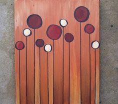 Burnt Orange Circles - 11x14 acrylic canvas painting