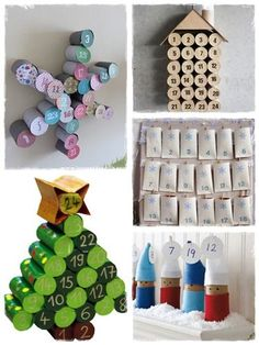 60 crafts with rolls of toilet paper Holiday Crafts For Kids, Handmade Christmas Decorations, Christmas Crafts, Advent Calenders, Diy Advent Calendar, Diy Arts And Crafts, Handmade Crafts, Diy Crafts, Paper Crafts