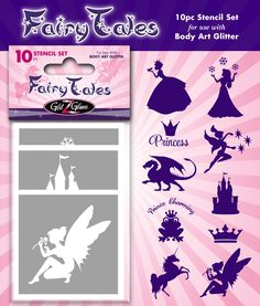 """""""Fairytales"""" temporary tattoo stencil set includes beautiful temporary tattoo stencils for children, teenagers and adults in the spirit of the fairy tales and legends.  10 Girls' top-favorite tattoo stencils that includes beautiful designs of princesses and fairies. Also includes a swan, dragon, unicorn and a magic castle to make all your fairytales come true!"""