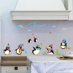 Chic Cartoon Animals Penguins Pattern Wall Sticker For Kindergarten Children's Bedroom - COLORMIX Custom Wall Stickers, Removable Wall Stickers, Wall Decor Stickers, Sticker Vinyl, Kids Room Wall Decals, Wall Decor Quotes, Cute Penguins, Animal Nursery, Wall Patterns