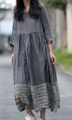 love this pattern idea. Fashion Sewing, Boho Fashion, Fashion Dresses, Boho Dress, I Dress, Linen Dresses, Casual Dresses, Moda Natural, Retro Dress