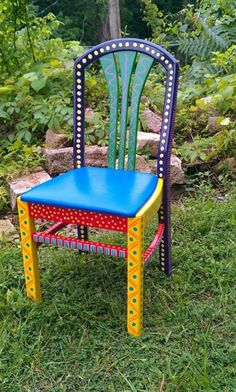 Hand Painted Furniture Chair Colorful Crazy Purple Back hand painted chairs Hand Painted Chairs, Whimsical Painted Furniture, Hand Painted Furniture, Funky Furniture, Refurbished Furniture, Colorful Furniture, Paint Furniture, Repurposed Furniture, Furniture Makeover