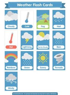 Free printable weather flash cards. Download the PDF at http://flashcardfox.com/download/weather-flash-cards/