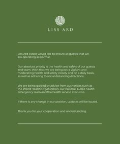 Liss Ard Estate would like to ensure all guests that we are operating as normal. Georgian Homes, Health And Safety, Priorities, Garden, Garten, Lawn And Garden, Gardens, Gardening, Outdoor