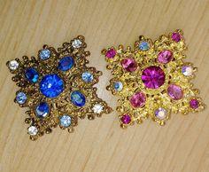 Pair Regency Style Square Rhinestone 1960's Brooch Pins Pink and Blue DIamond Shape Retro Jewelry by suburbantreasure on Etsy