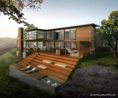 Wood, glass, and wildflowers. Mill Valley house (rendering). Amazing step-down.