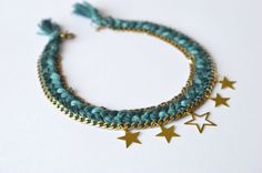 Braided cotton necklace with gold brass stars and by DragsRoom