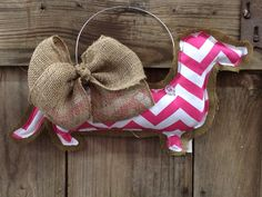 Chevron Dachshund Door Hanger or Decorative Accent Pillow on Etsy, $25.00