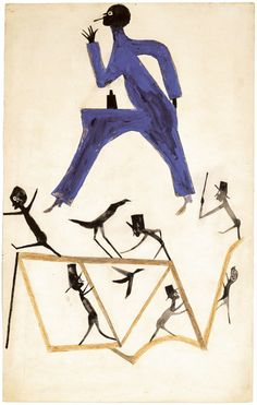 Untitled - 1939-1942, poster paint & pencil on discarded cardboard