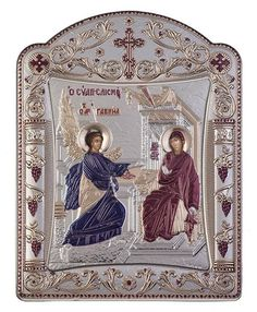 Virgin Mary Annunciation Greek Orthodox Silver Icon - Byzantine Greek Silver Orthodox Religious Icon - Made in Greece - Size - x Color: Burgundy Red And Blue Make, Greek Icons, Queen Of Heaven, Christ The King, Blessed Mother Mary, Byzantine Icons, Greek Art, God Pictures, Religious Icons