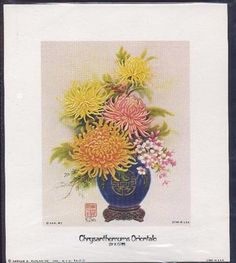 "CHRYSANTHEMUMS ORIENTALE  BY K CHIN SMALL SIZE LITHOGRAPH 6"" X 7""   BEAUTIFY ANY ROOM Oriental, Chrysanthemums, Cover, Room, Art, Rooms, Kunst, Blankets, Spider Mums"
