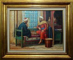 "Edilson E. Barbosa,""Comerciante Árabe ll"", Óleo sobre Tela, 45 x 60, assinatura no canto inf"