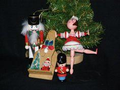 Vintage 1980s Wood Ornament LOT Nut Cracker and Santa by parkie2, $12.95