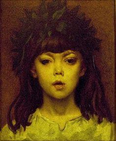 "Constantin Meunier:  ""Child crowned with laurels"", Nederlands: (Kind gekroond met lauwerkrans), oil on canvas Current location: Meunier Museum Brussels"