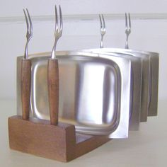 Teak and Stainless Fondue Fork and Plate Set 1960s by cherryrivers, $26.00