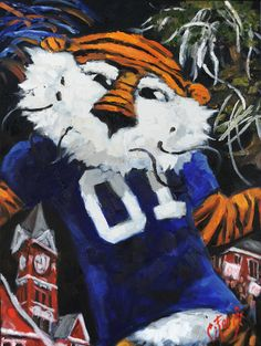 Aubie Prowling On Campus Painting  - Aubie Prowling On Campus Fine Art Print