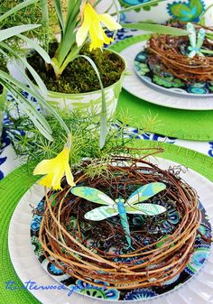 Heres a colorful dragonfly tucked into a nest at a place setting. You could write your guests names on the wings as a place card holder! Banquet Decorations, Easter Table Decorations, Spring Decorations, Christmas Centerpieces, Easter Decor, Thistlewood Farms, Easter Celebration, Hoppy Easter, Easter Holidays