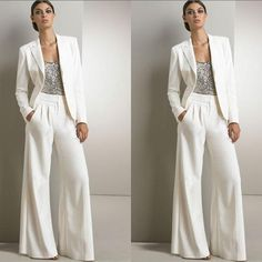 2pcs Formal Women Mother Ivory Pants Suits Mother of The Bride Pant Suits  Office Business Lady Jacket For Wedding Party Bridal Evening Wear 3a183896e